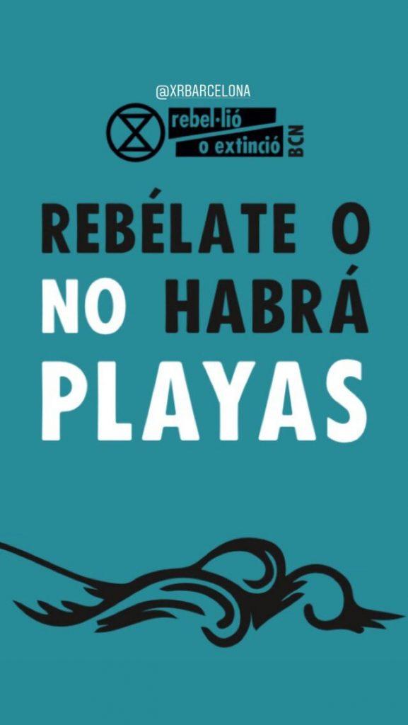 """Banner: """"Rebelate o no habrá playas"""""""