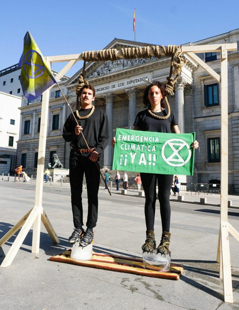 Rebels protest outside the Congress of Deputies in Madrid