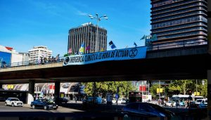 Action at the brige Nuevos Ministerios the 7th Oct in Madrid