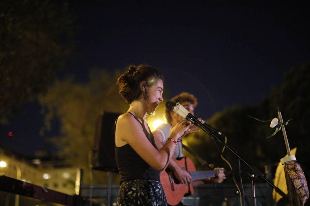 Rebels enjoy a concert during the October Rebellion in Madrid