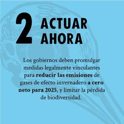 ACTUAR AHORA - Los gobiernos deben promulgar medidas legalmente vinculantes para reducir las emisiones de gases de efecto invernadero a cero neto para 2025, y limitar la perdida de biodiversidad.