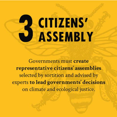 CITIZENS' ASSEMBLY - Governments must create representativs citizens' assemblies selected by sortion and advised by experts to lead governments' decisions on climate and ecological justice.