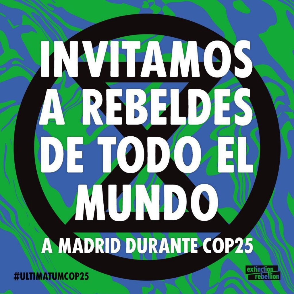 Event banner: We invite rebels from all over the world in Madrid at the COP25. #ultimatumcop25