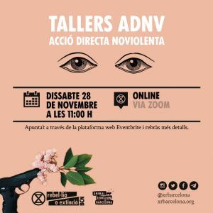 Poster tallers ADNV dissabte 28 de novembre a les 11:00 hores